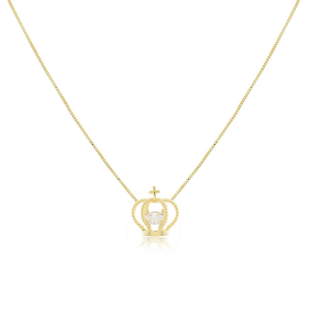 Colar De Coroa Com Zircônia - Coleção Queen - Mina De Fé Joias - Banhado a Ouro 18k