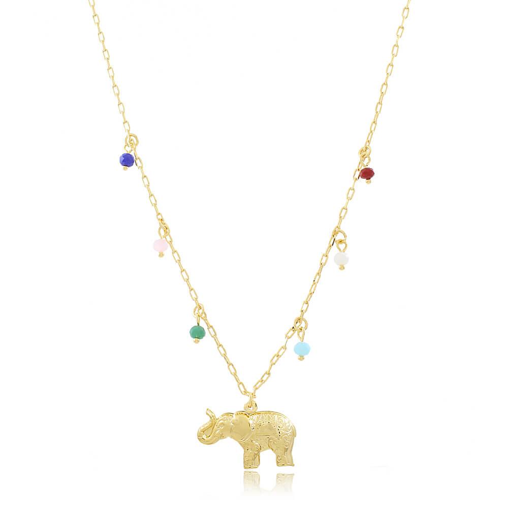 Colar Elefante com Pedras Coloridas - Coleção Elephantus - Mina de Fé Joias - Banhado a Ouro 18k