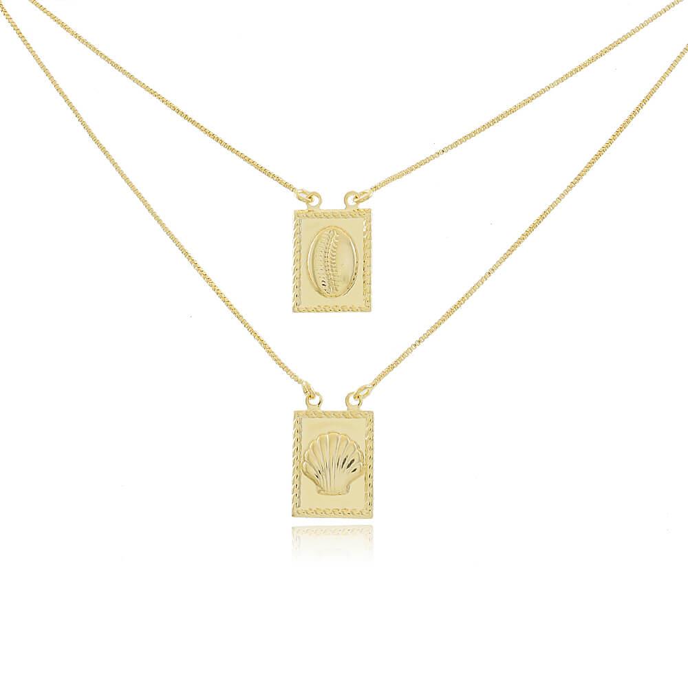 Colar Escapulário de Búzio e Concha - 60cm - Mina de Fé Joias - Banhado a Ouro 18k
