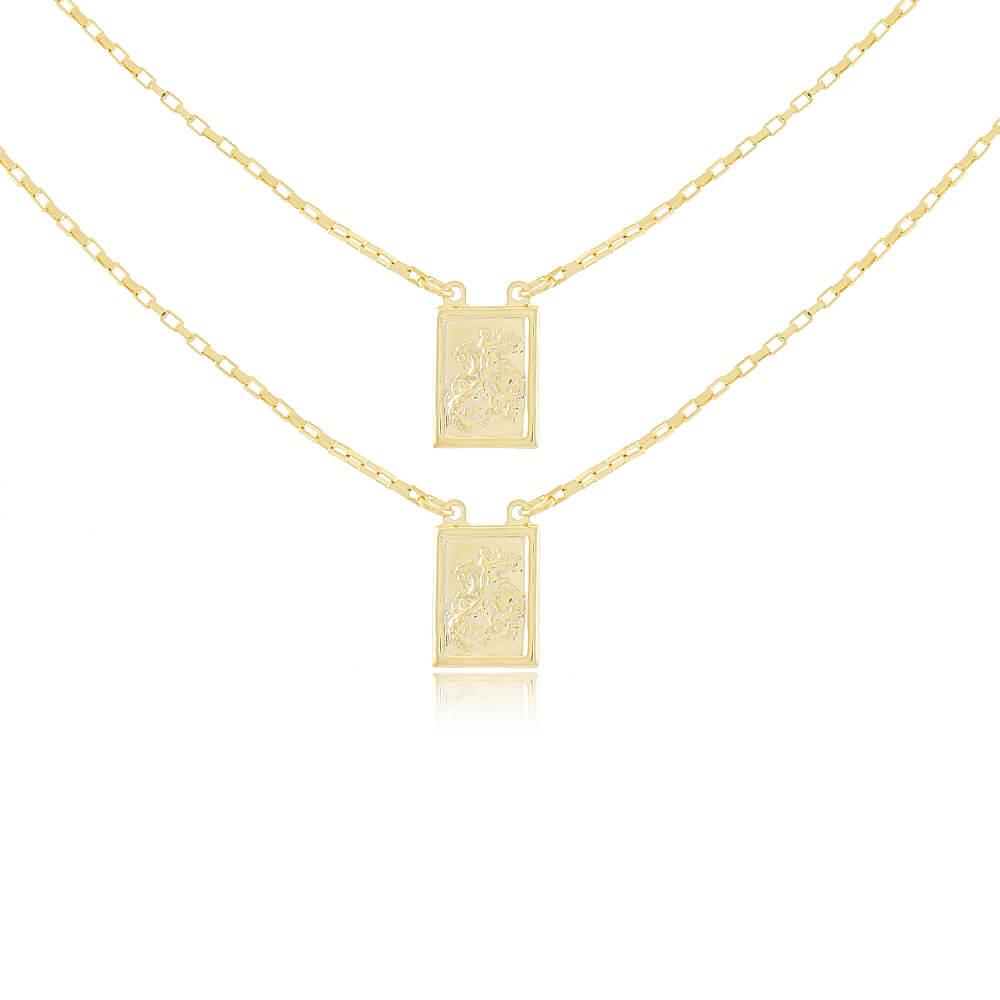 Colar Escapulário de São Jorge 60cm - Coleção Salve Jorge - Mina de Fé Joias - Banhado a Ouro 18k