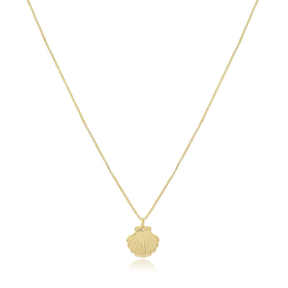 Colar Longo com Concha Aberta - Coleção Conchas - Mina de Fé Joias - Banhado a Ouro 18k
