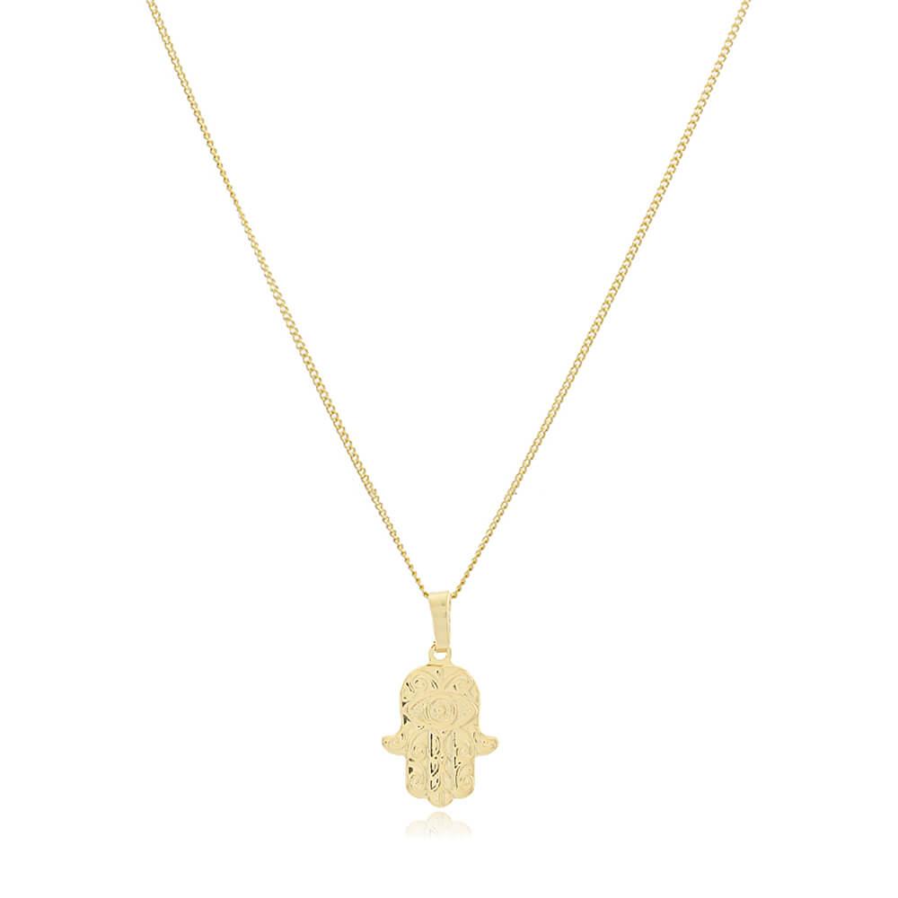 Colar Mão de Fátima - Coleção Hamsá - Mina de Fé Joias - Banhado a Ouro 18k