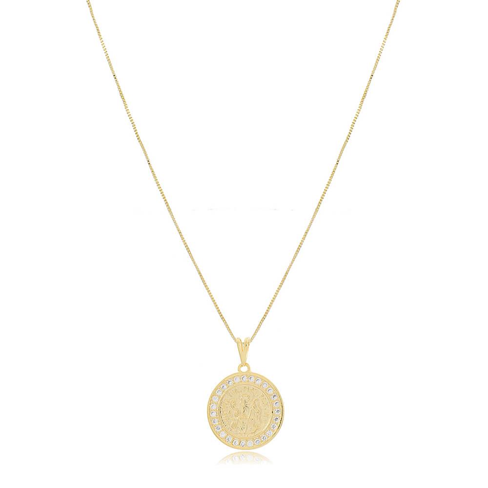 Colar Medalha de São Bento com Zircônias - Mina de Fé Joias - Banhado a Ouro 18k
