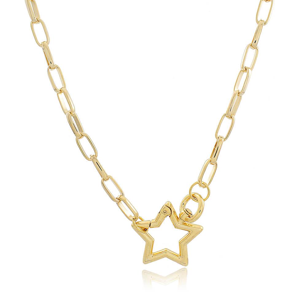 Colar Mosquetão Estrela - Coleção Essenza Elementar - Mina de Fé Joias - Banhado a Ouro 18k