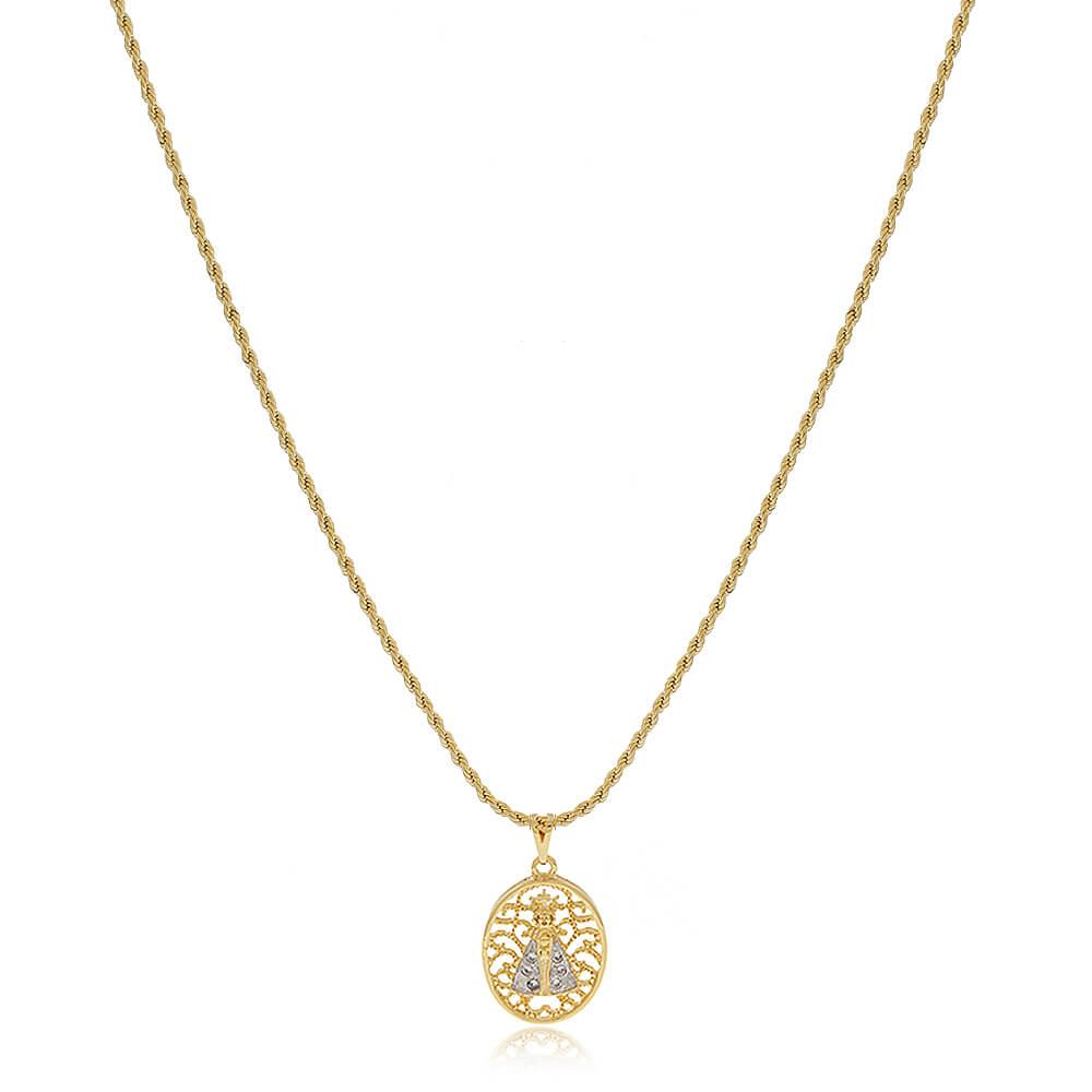 Colar Nossa Senhora Aparecida Design Em Arabesco Com Zircônias E Ródio Branco - Mina de Fé Joias - Banhado a Ouro 18k