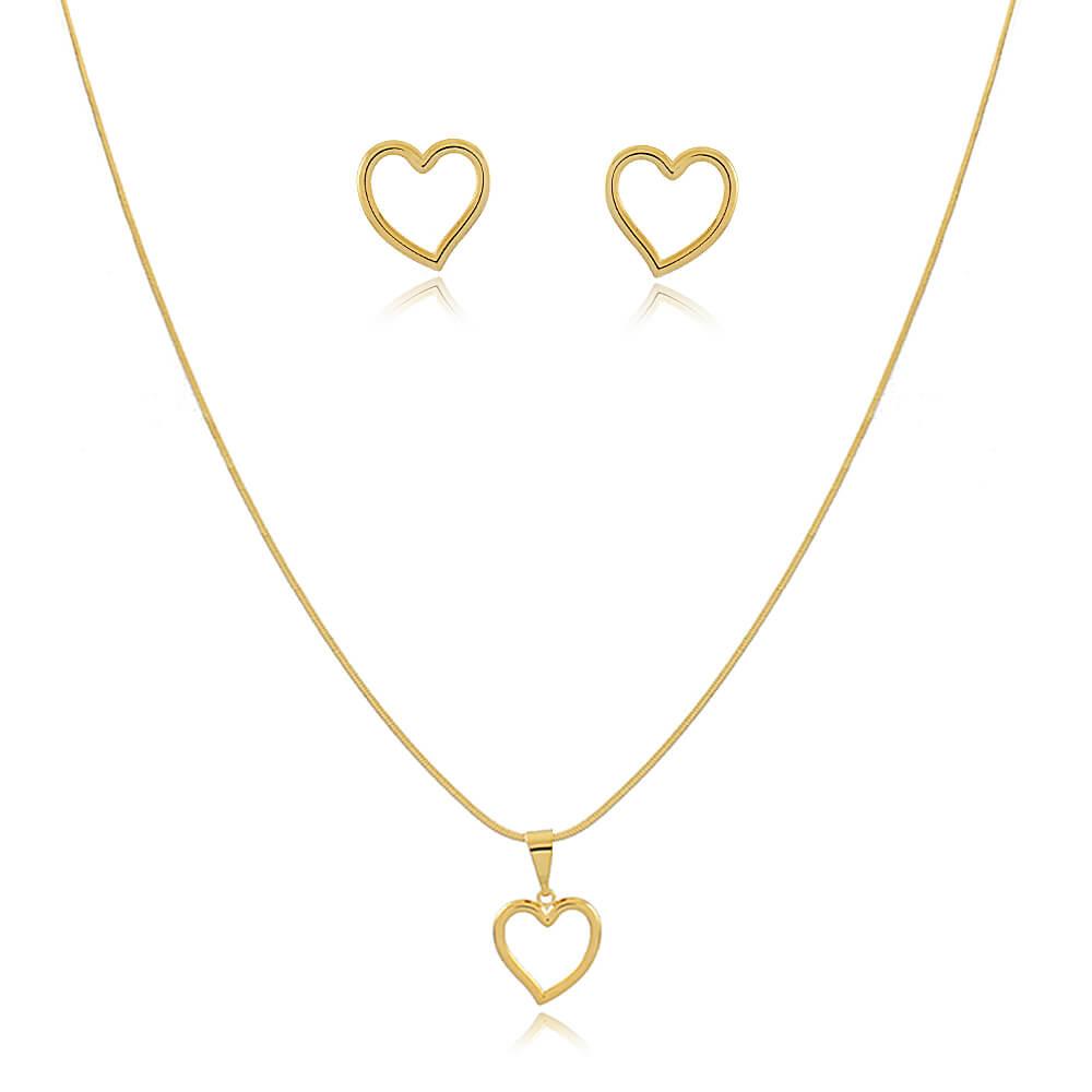 Conjunto Colar e Brinco Amor Incondicional - Coleção Incondicional - Especial Dia das Mães - Banhado a Ouro 18k