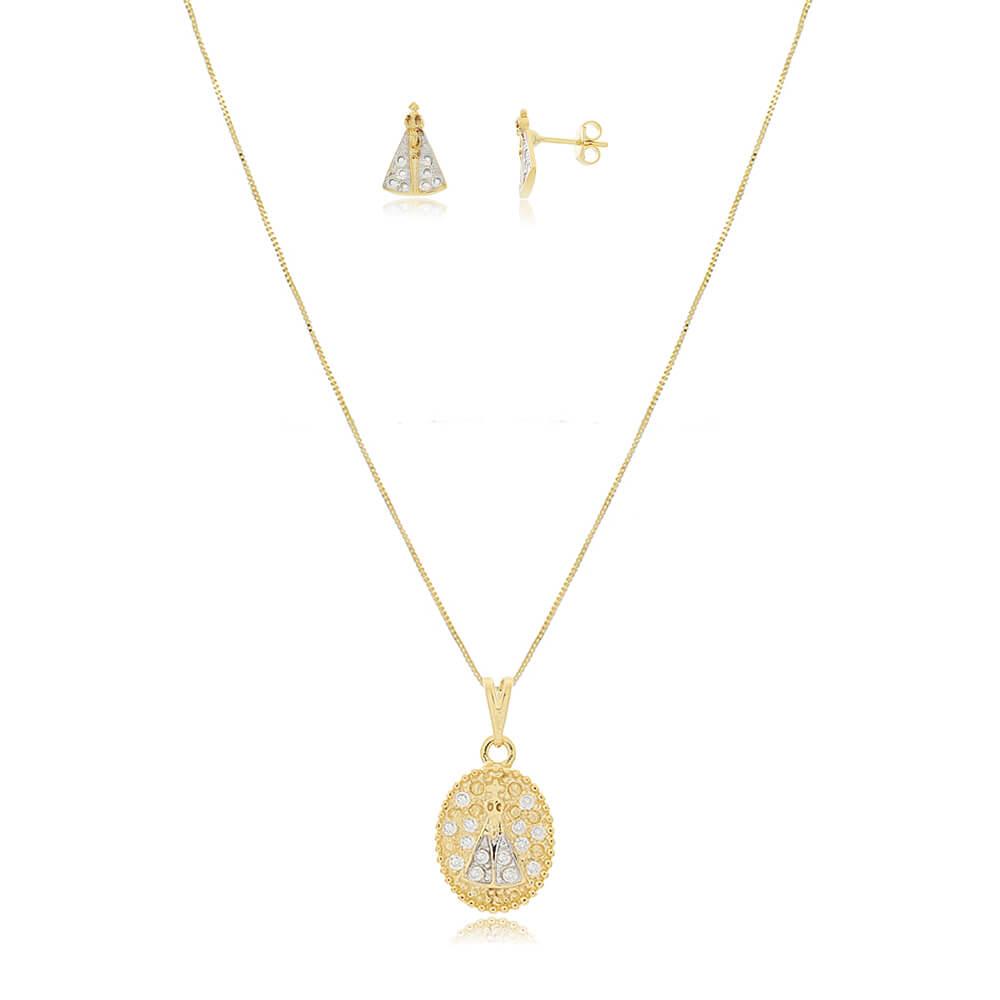 Conjunto Colar e Brinco de Nossa Senhora Aparecida com Zircônias e Ródio Branco - Mina de Fé Joias - Banhado a Ouro 18k