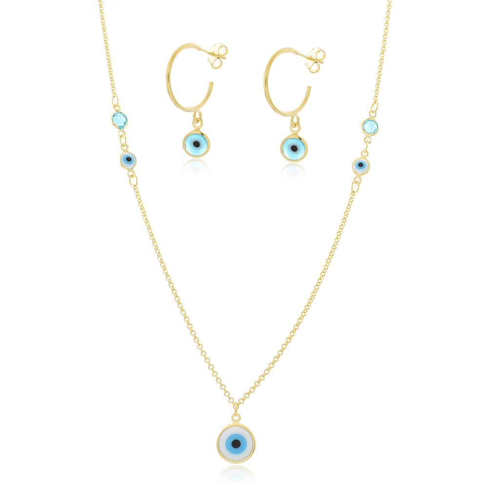 Conjunto Colar e Brinco Olho Grego e Cristal Azul Claro - Coleção Nazar - Mina de Fé Joias - Banhado a Ouro 18k