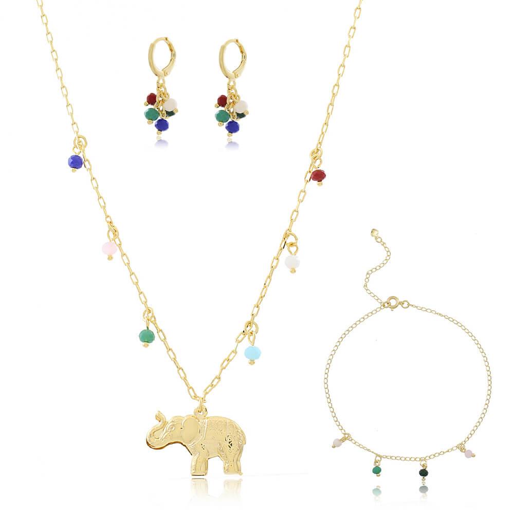 Conjunto Colar Elefante,Brinco e Tornozeleira Pedra Colorida - Coleção Elephantus- Mina de Fé Joias - Banhado a Ouro 18k