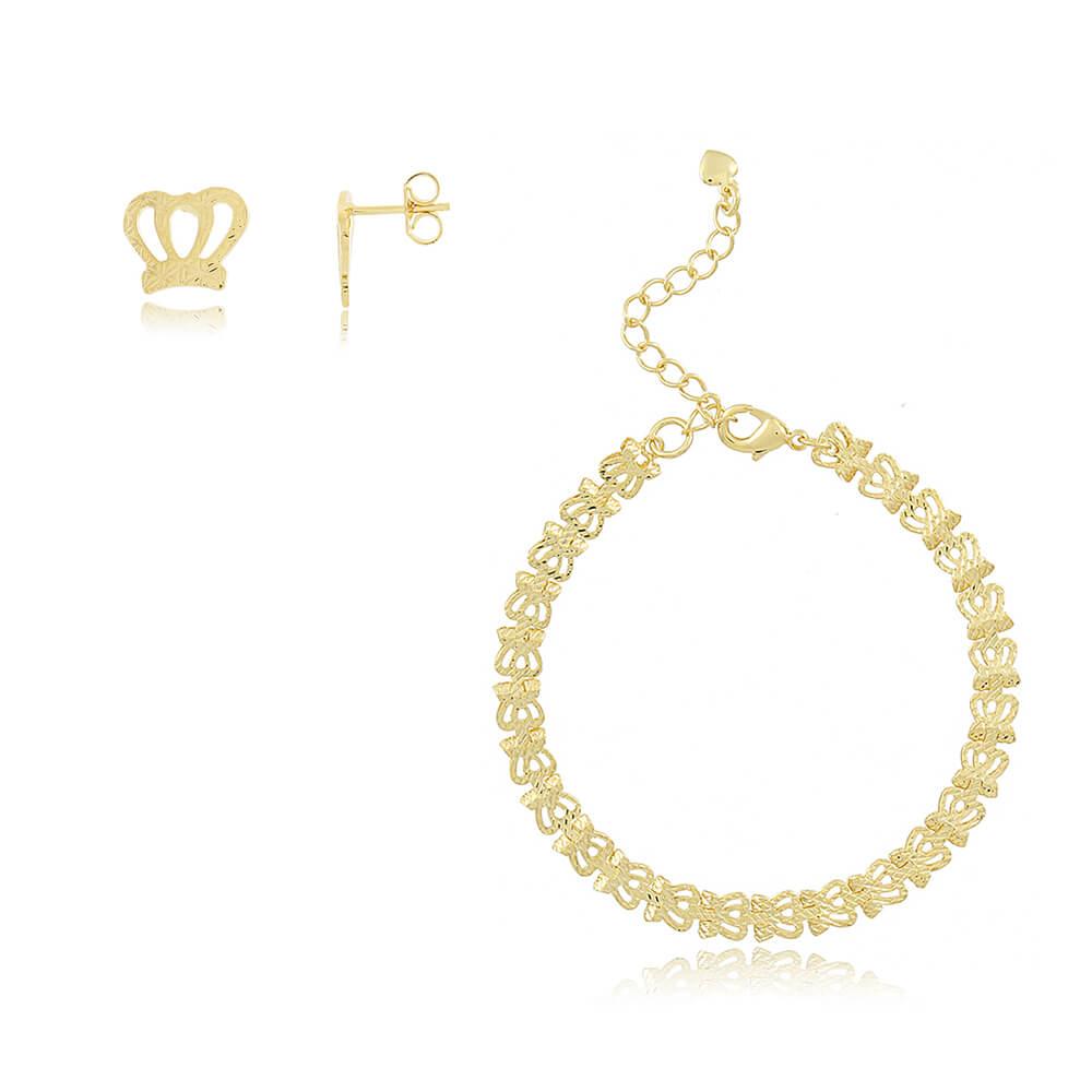 Conjunto Pulseira e Brinco de Coroa - Coleção Queen - Mina de Fé Joias - Banhado a Ouro 18k