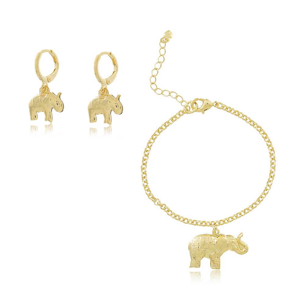 Conjunto Pulseira e Brinco de Elefante - Coleção Elephantus - Mina de Fé Joias - Banhado a Ouro 18k