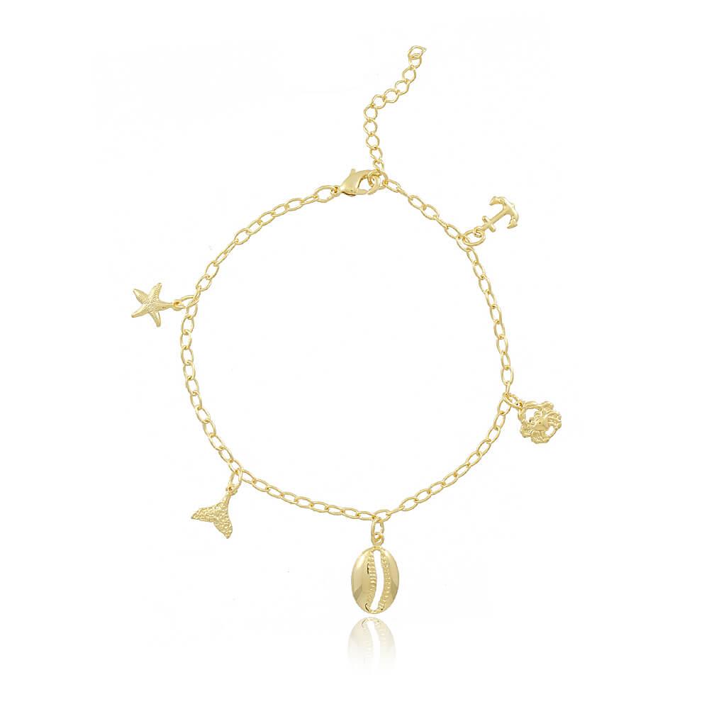 Pulseira Búzio c/ Estrela do Mar, Cauda de Sereia, Caranguejo e Âncora - Mina de Fé Joias - Banhado a Ouro 18k