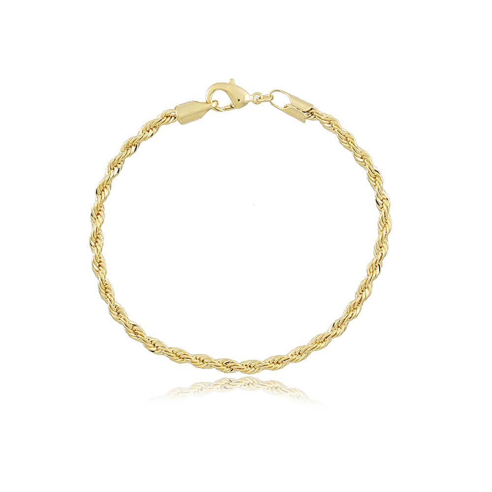 Pulseira Cordão Baiano - Coleção Essenza Elementar - Mina de Fé Joias - Banhada a Ouro 18k