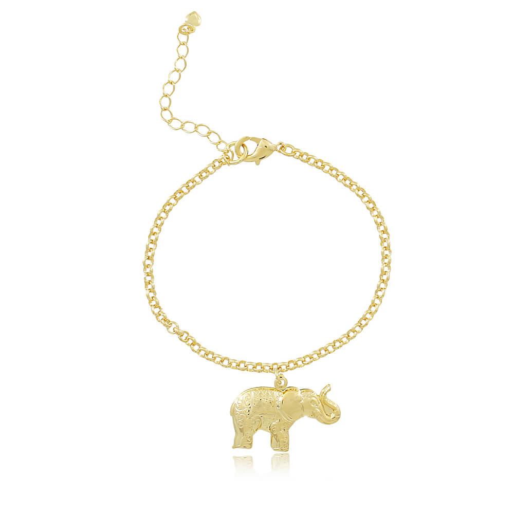 Pulseira Elefante - Coleção Elephantus - Mina de Fé Joias - Banhado a Ouro 18k