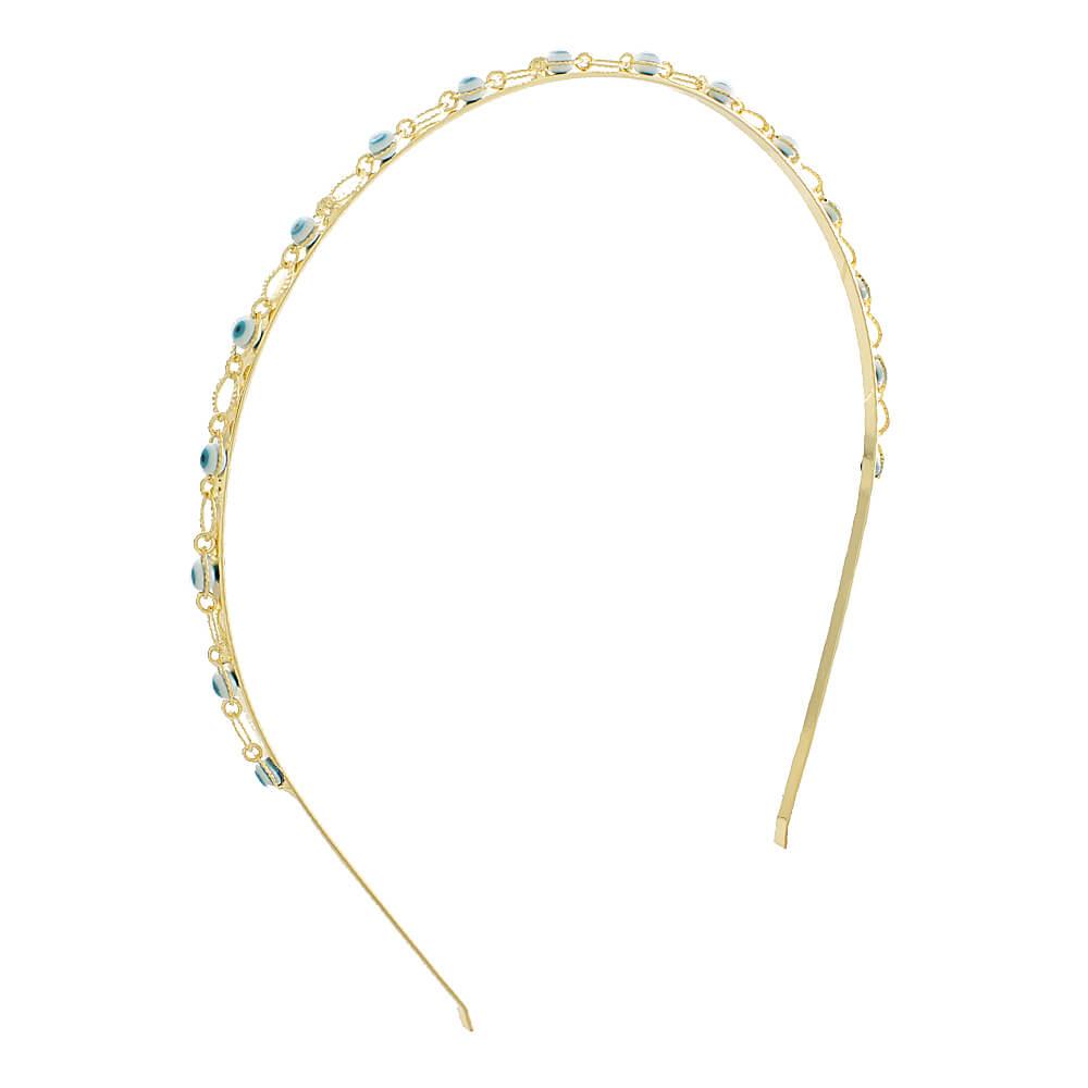 Tiara Olho Grego - Coleção Nazar - Mina de Fé Joias - Banhada a Ouro 18k