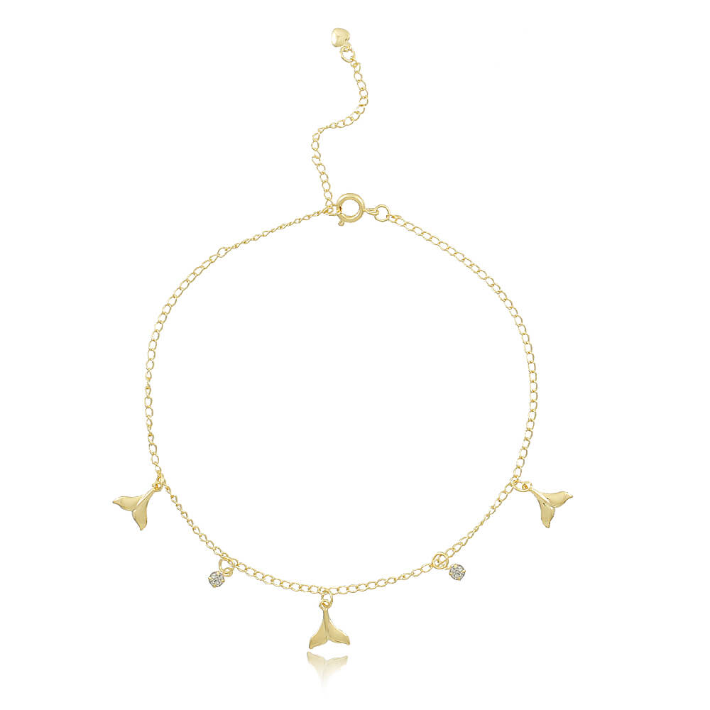 Tornozeleira Cauda de Sereia - Coleção Sirena - Mina de Fé Joias - Banhada a Ouro 18k