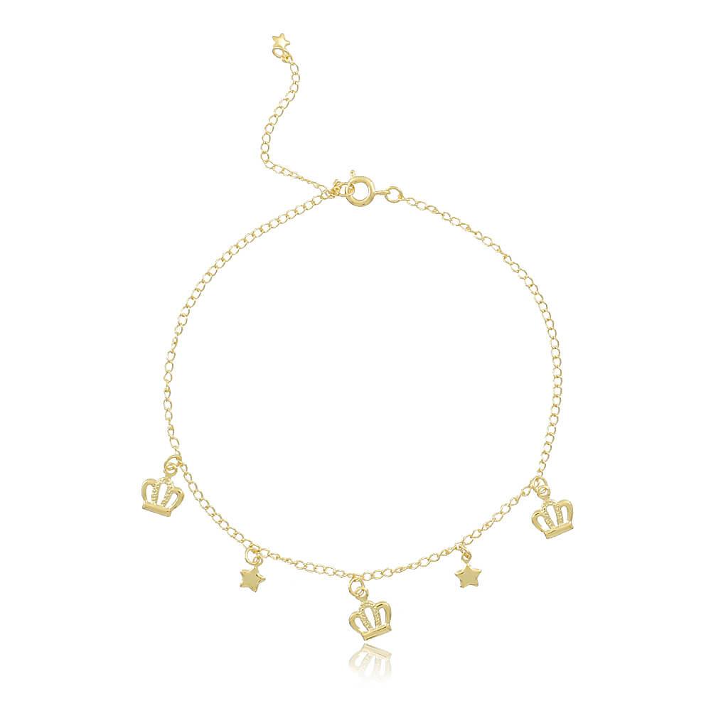 Tornozeleira Coroas e Estrelas - Coleção Queen - Mina de Fé Joias - Banhada a Ouro 18k