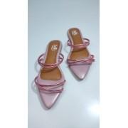 Rasteirinha Metalizada Bico Folha Rosa Cintilante Aurora