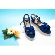 Sandália Flatform Corda Anabela Tratorada Azul