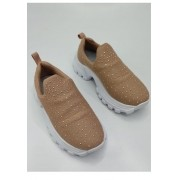 Tênis Sneaker Nude Knit com Strass