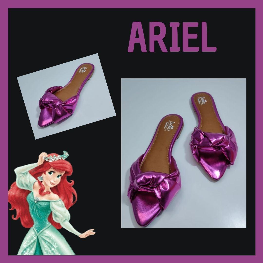 Rasteirinha Metalizada Bico Fino com nó Pink Ariel
