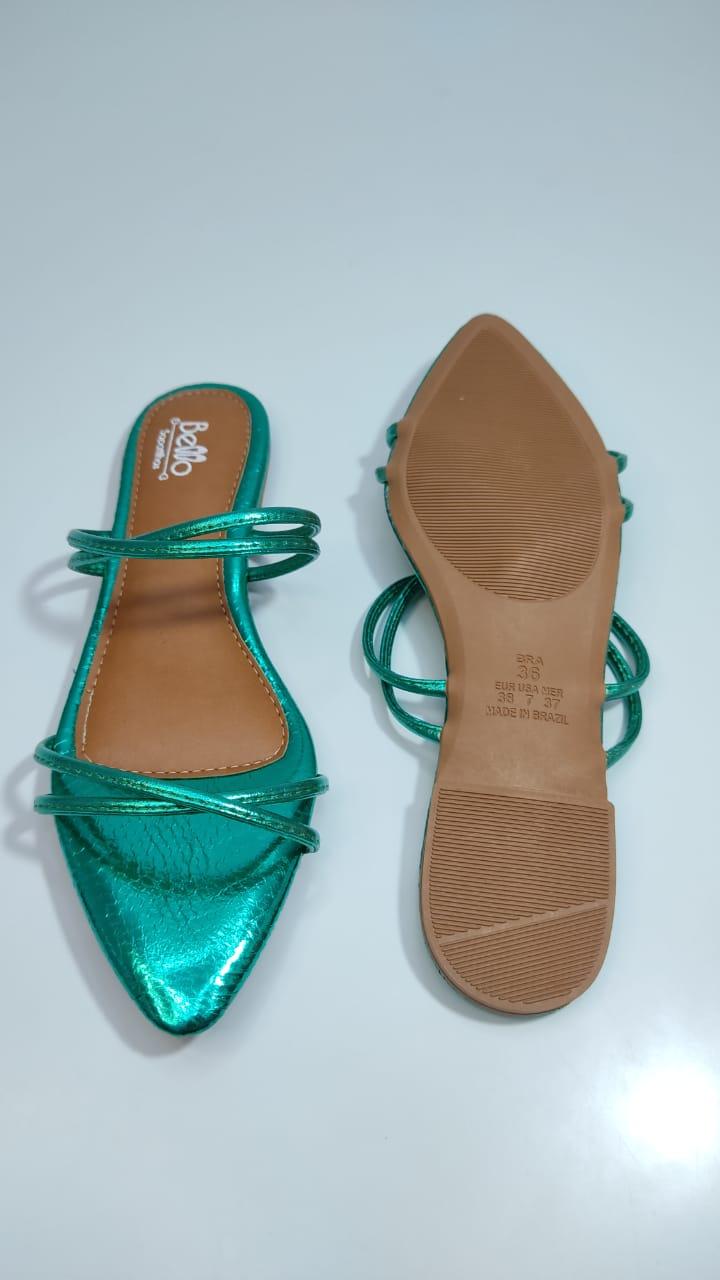 Rasteirinha Metalizada Bico Folha Verde Esmeralda Jasmine