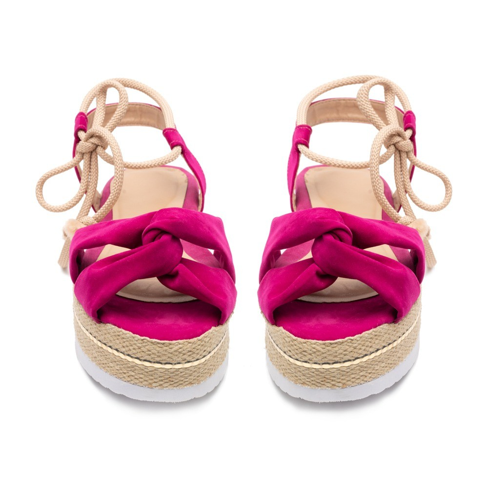 Sandália Flatform Corda Anabela Tratorada Pink