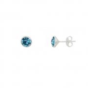 Brinco de Prata Cristal Azul 6 mm em Prata