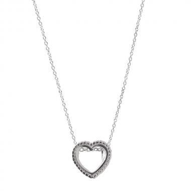 Colar Cadeado com Coração em Prata