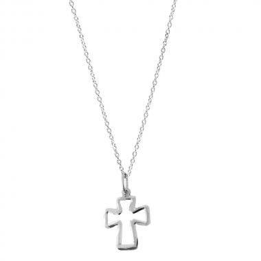 Colar Cadeado com Cruz Espelhada em Prata