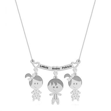 Colar Canga 2 Meninas 1 Menino com Nomes Personalizado em Prata