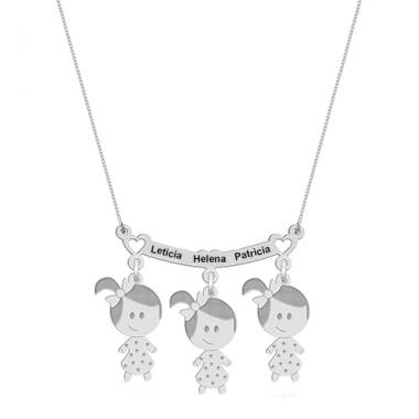 Colar Canga Três Meninas com Nomes Personalizado em Prata