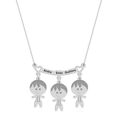 Colar Canga Três Meninos com Nomes Personalizado em Prata
