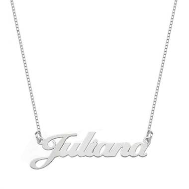 Colar de Nome Personalizado escrita Grossa em Prata