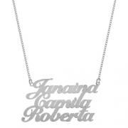Colar de Três Nomes Personalizado escrita Grossa em Prata