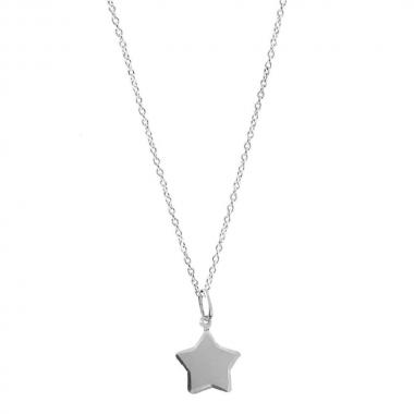 Colar Feminino de Prata Estrela Chapa Fosco Vizaro