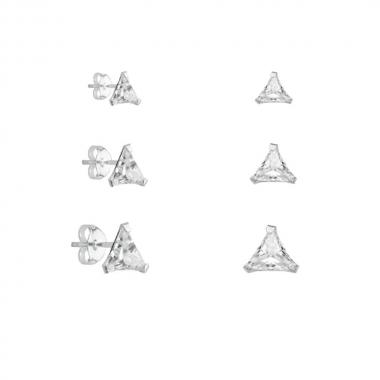 Kit de Brincos Triângulo Zircônias em Prata
