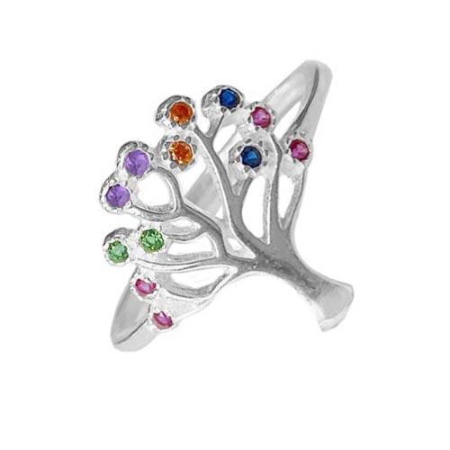 Anel Arvore da Vida Zircônia Colorida em Prata