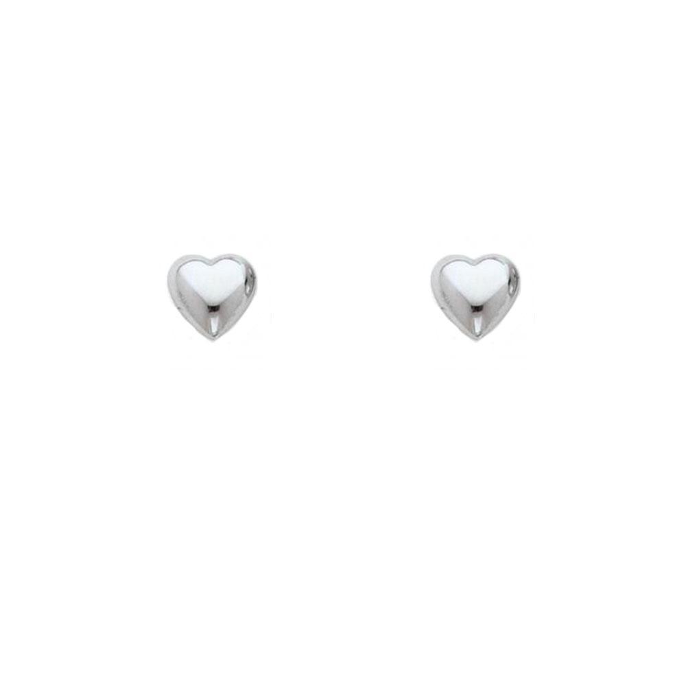 Brinco Coração Liso Pequeno em Prata