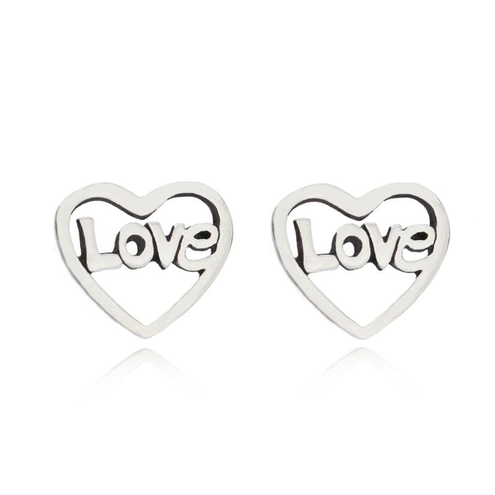 Brinco Coração Love em Prata