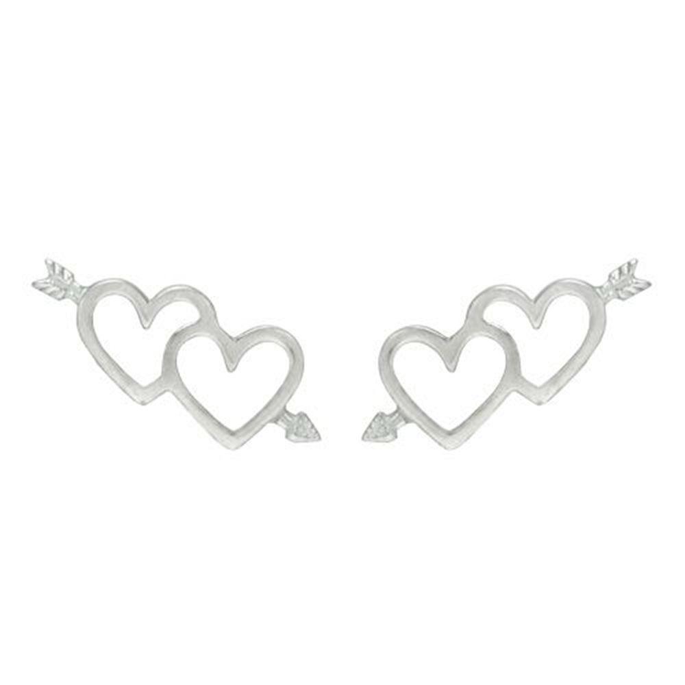 Brinco Corações com Flecha Pequeno de Prata Vizaro