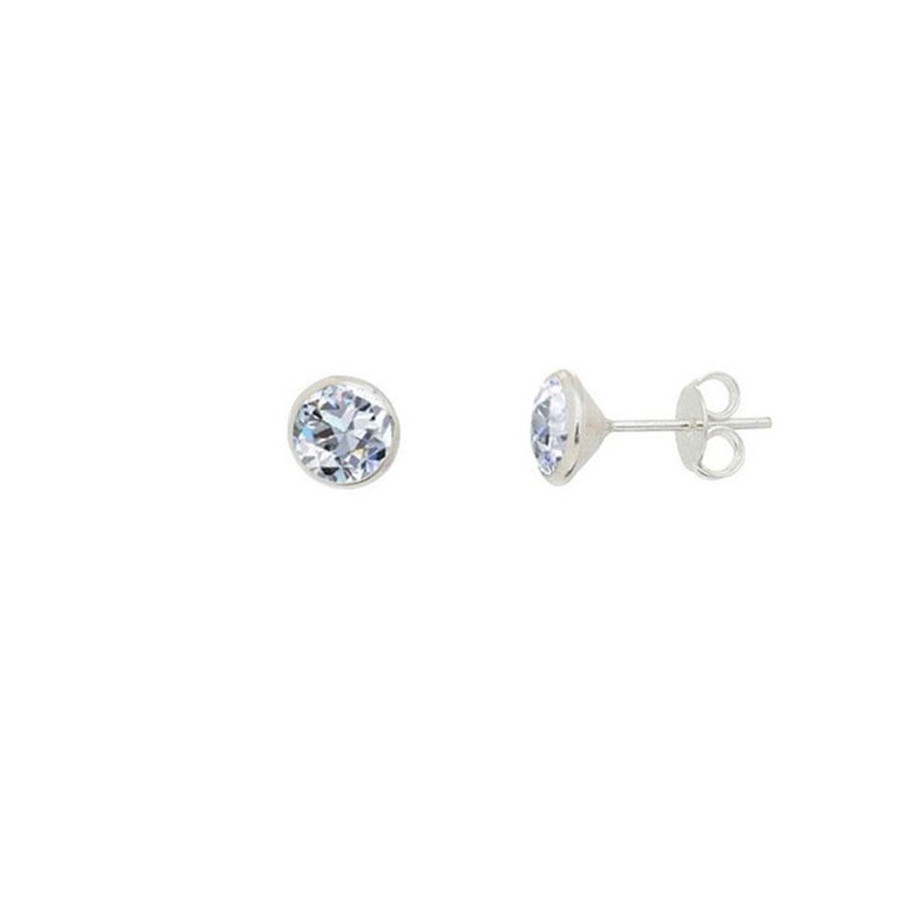 Brinco de Prata Cristal 5 mm em Prata