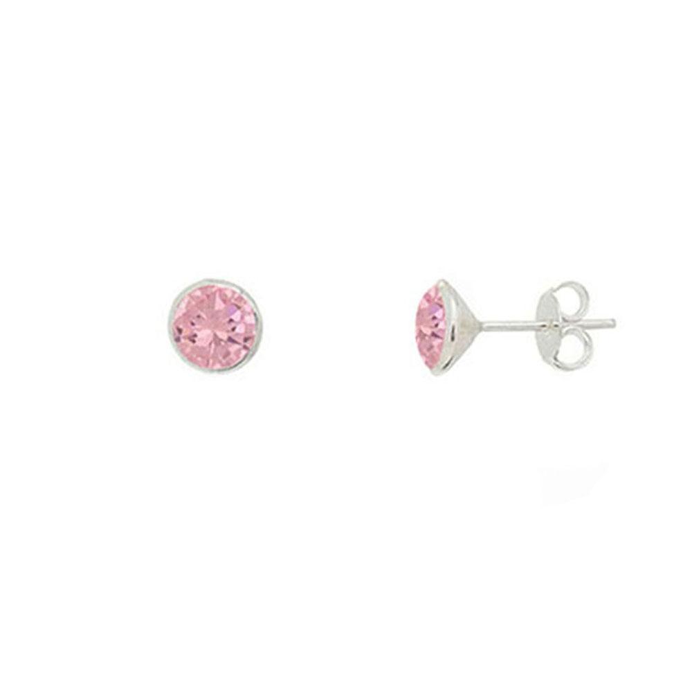 Brinco de Prata Cristal Rosa 6 mm Vizaro