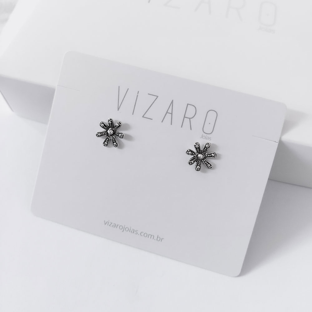 Brinco de Prata Flor Vizaro