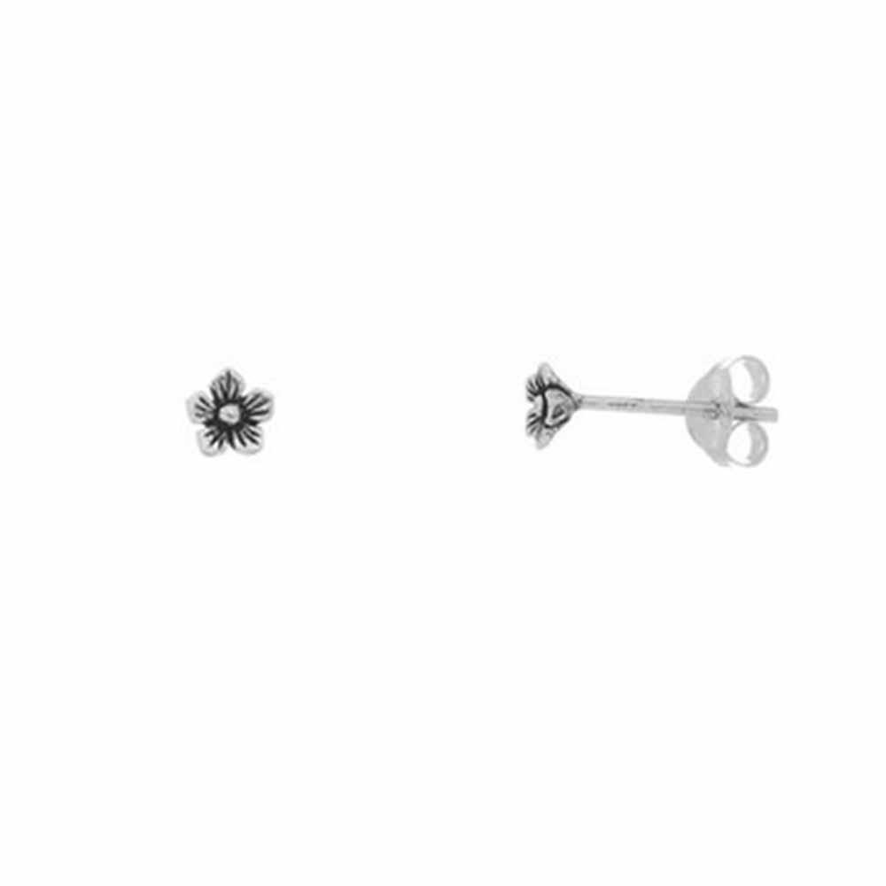 Brinco Flor Mini em Prata Envelhecida Vizaro