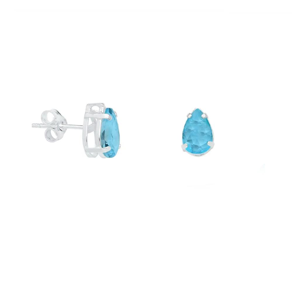 Brinco Gota Cristal Azul Céu em Prata