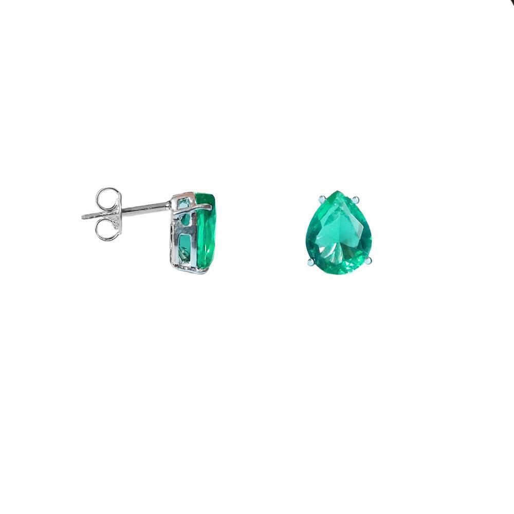Brinco Gota Cristal Verde Esmeralda em Prata