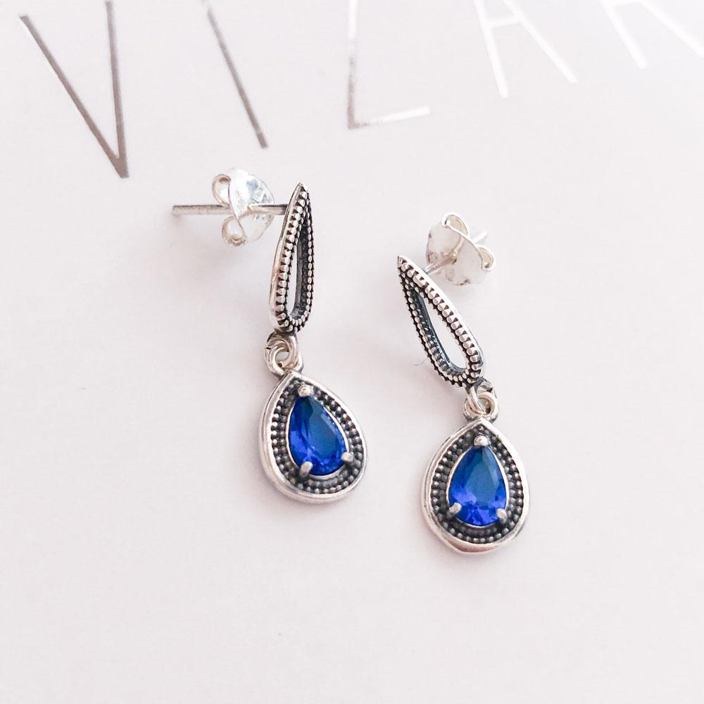 Brinco Gota Pedra Azul em Prata