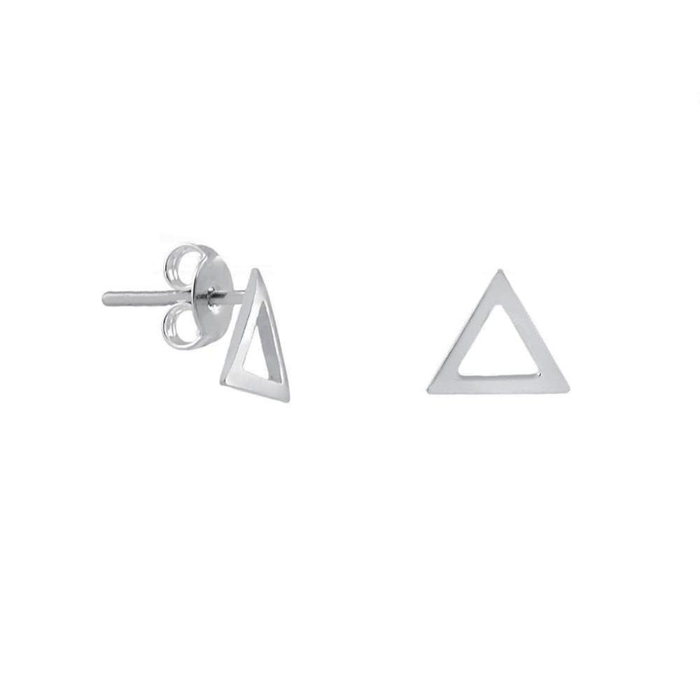Brinco Triângulo Vazado Médio em Prata