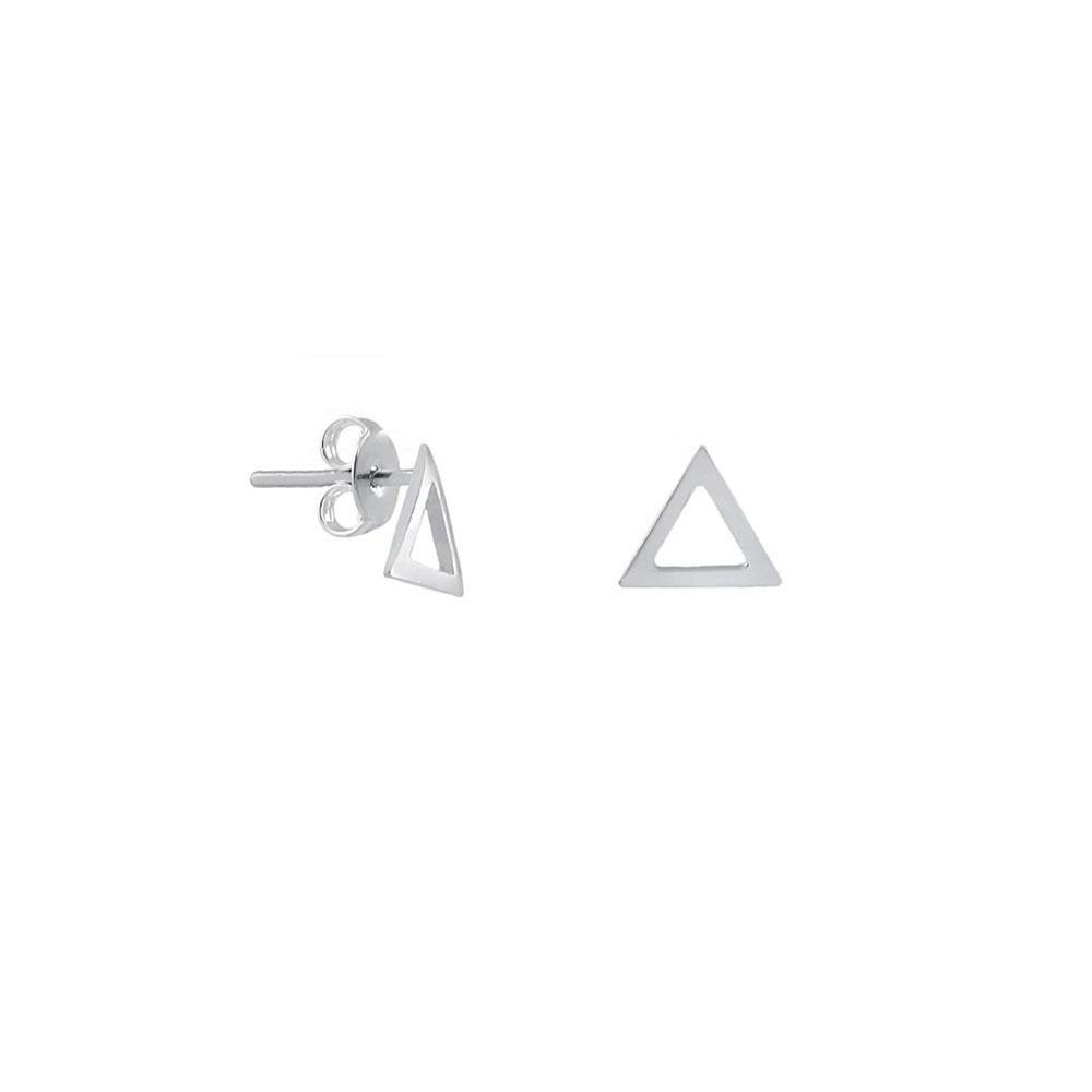 Brinco Triângulo Vazado Pequeno em Prata